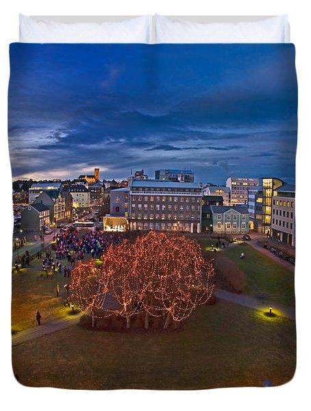 Christmas Time Downtown Reykjavik Duvet Cover