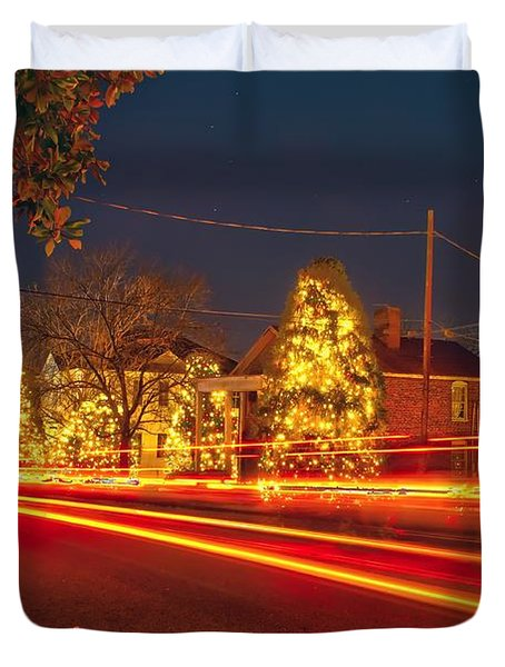 Duvet Cover featuring the photograph Christmas Town Usa by Alex Grichenko