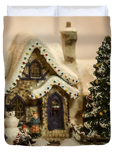 Duvet Cover featuring the photograph Christmas Toy Village by Alex Grichenko