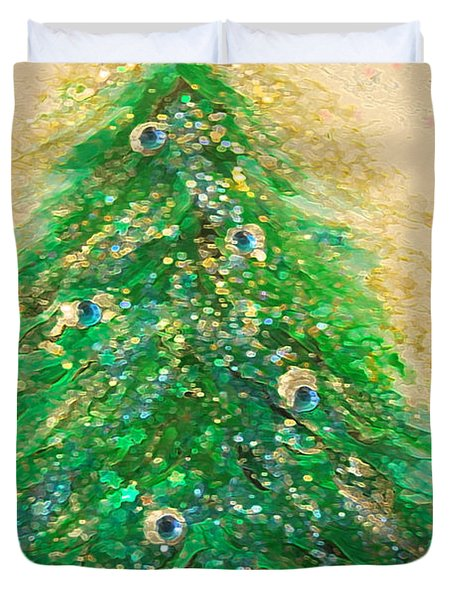 Christmas Tree Gold By Jrr Duvet Cover by First Star Art