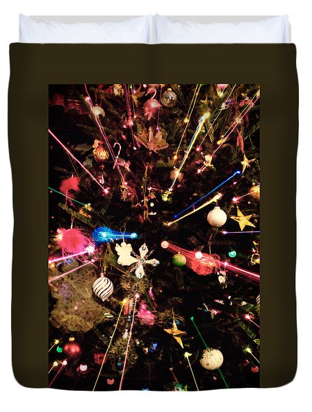Duvet Cover featuring the photograph Christmas Tree Lights by Vizual Studio