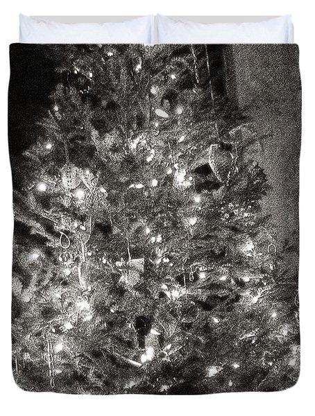 Christmas Tree Memories Monochrome Duvet Cover