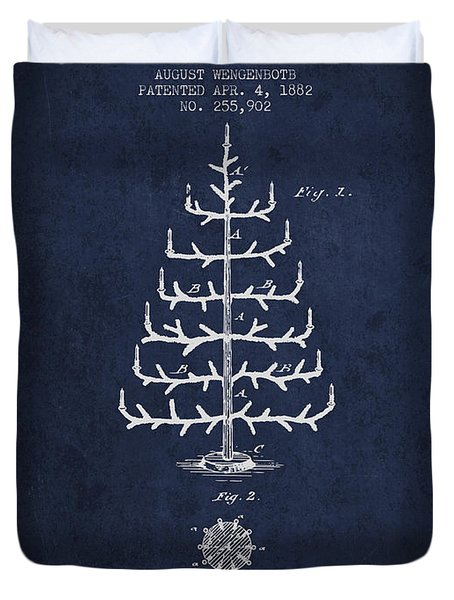 Christmas Tree Patent From 1882 - Navy Blue Duvet Cover