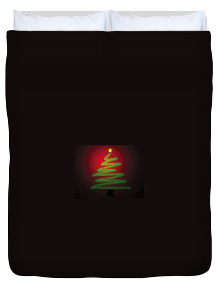 Christmas Tree With Star Duvet Cover by Genevieve Esson