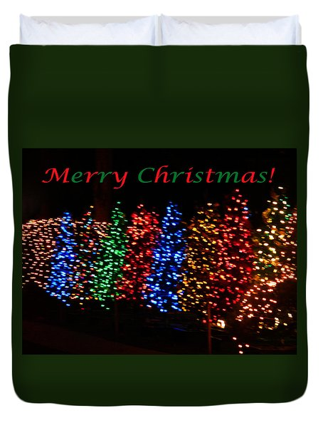 Christmas Trees Dancing In The Night Duvet Cover