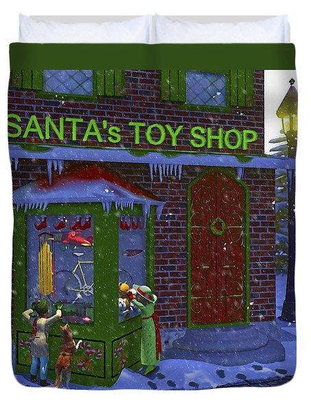 Christmas Window Shopping Duvet Cover