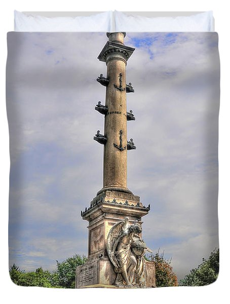 Christopher Columbus Monument At Columbus Circle In Manhattan Duvet Cover by Randy Aveille