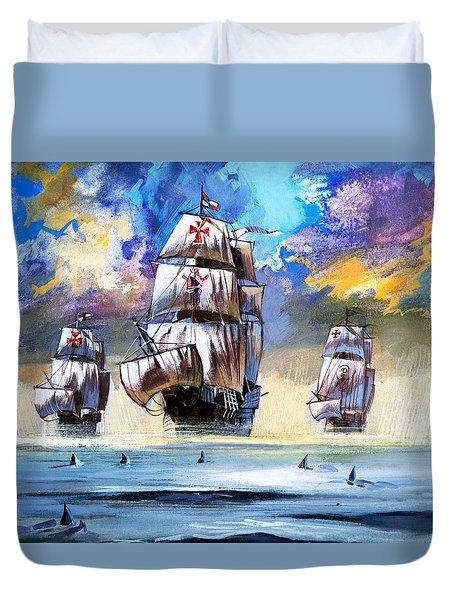 Christopher Columbus's Fleet  Duvet Cover by English School
