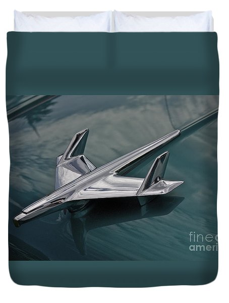 Chrome Airplane Hood Ornament Duvet Cover by Linda Bianic