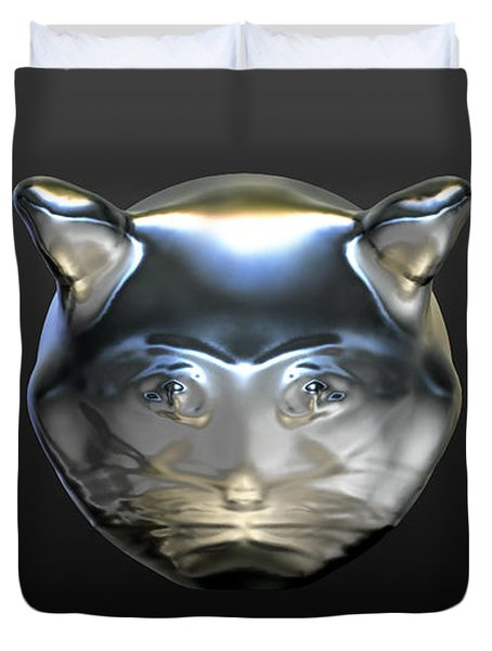 Chrome Cat Duvet Cover by Stacy C Bottoms