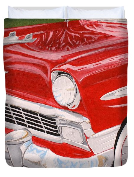 Chrome King 1956 Bel Air Duvet Cover by Vicki Maheu