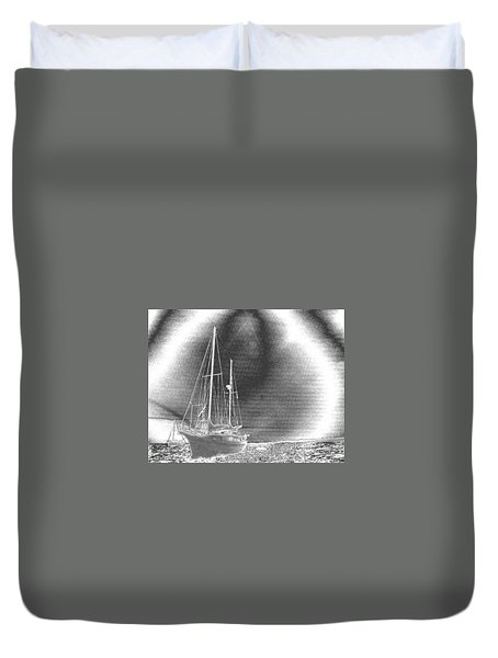 Chromed Sailboats In Key Largo Duvet Cover by Belinda Lee