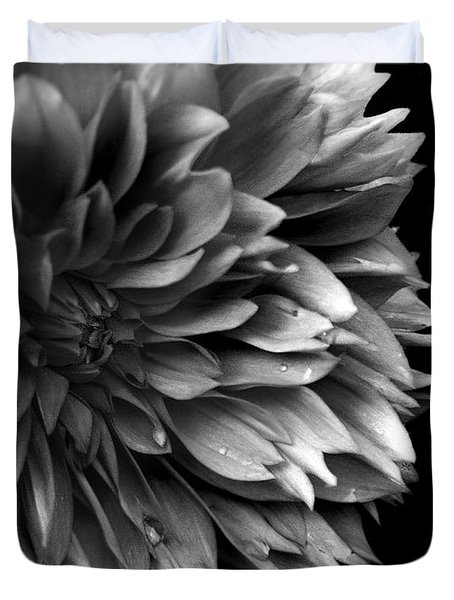 Chrysanthemum In Black And White Duvet Cover
