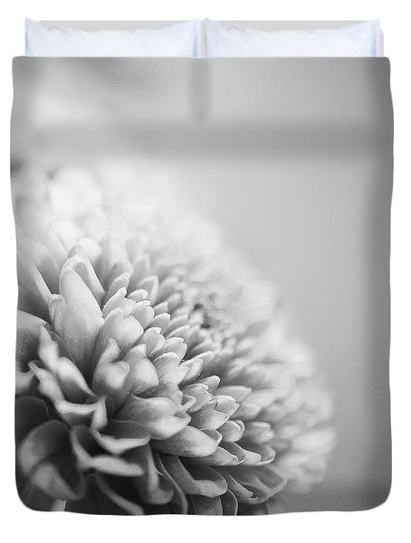 Chrysanthemum In Black And White Duvet Cover
