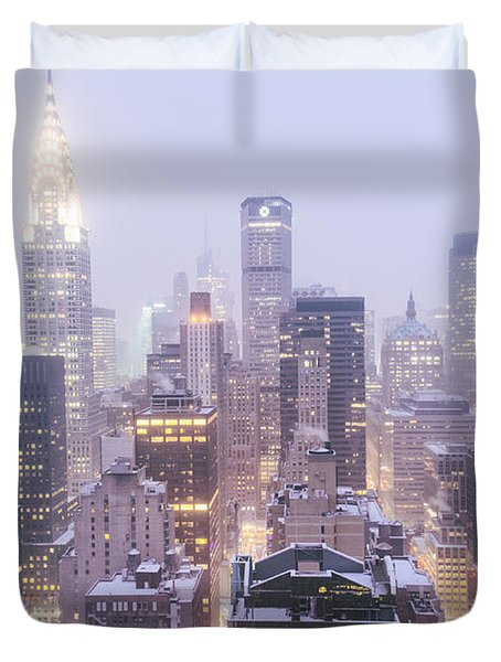 Chrysler Building And Skyscrapers Covered In Snow - New York City Duvet Cover by Vivienne Gucwa