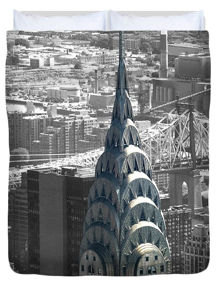 Duvet Cover featuring the photograph Chrysler Building by Angela DeFrias