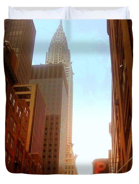 Chrysler Building Rises Above New York City Canyons Duvet Cover by Miriam Danar