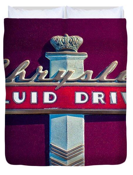 Chrysler Fluid Drive Emblem Duvet Cover by Jill Reger