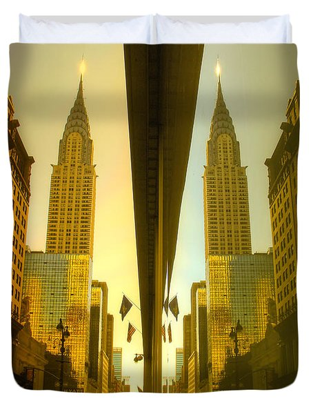Chrysler Reflection On 42nd Street Duvet Cover