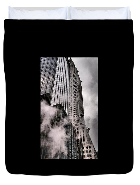 Chrysler Building With Gargoyles And Steam Duvet Cover by Miriam Danar