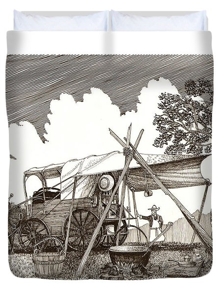 Chuckwagon Cattle Drive Breakfast Duvet Cover by Jack Pumphrey