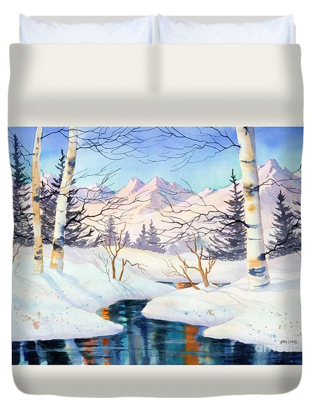 Duvet Cover featuring the painting Chugach Alpenglow by Teresa Ascone