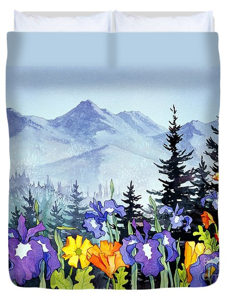 Duvet Cover featuring the painting Chugach Summer by Teresa Ascone