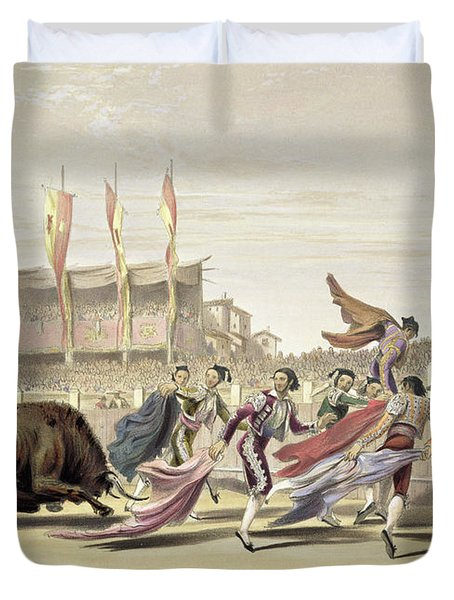 Chulos Playing The Bull, 1865 Duvet Cover