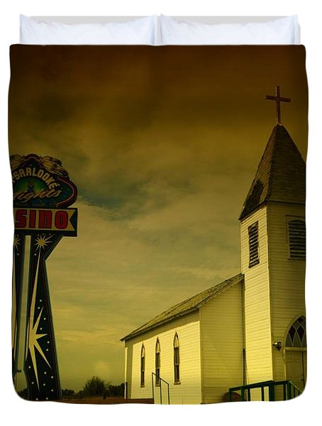 Church And Casino Those Two Angels  Duvet Cover by Jeff Swan