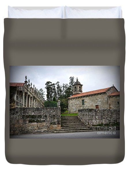 Church And Cemetery In A Small Village In Galicia Duvet Cover