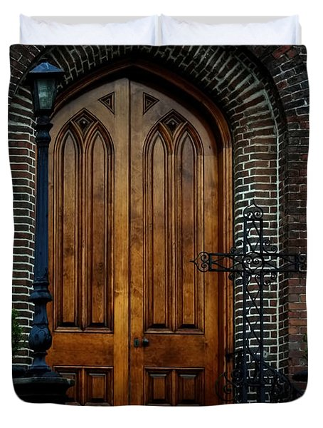 Church Arch And Wooden Door Architecture Duvet Cover by Lesa Fine