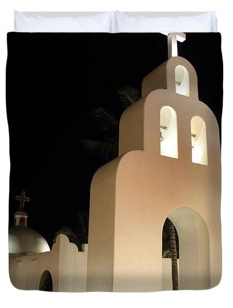 Church At Night In Playa Del Carmen Duvet Cover