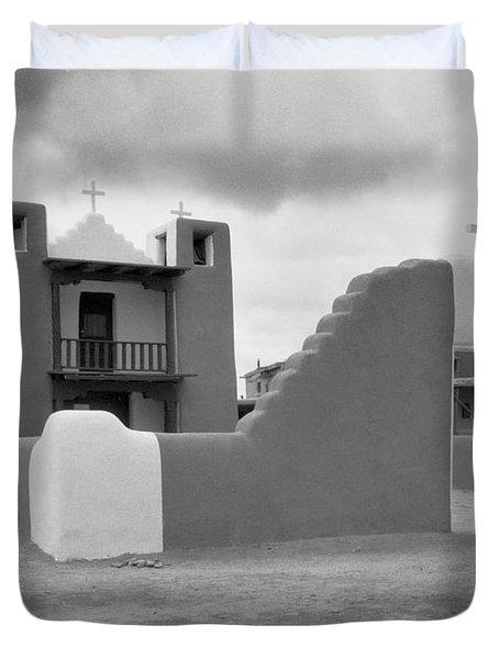 Church At Taos Pueblo Duvet Cover by David and Carol Kelly