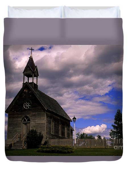 Church At The Okeefe Ranch Duvet Cover by Bob Christopher