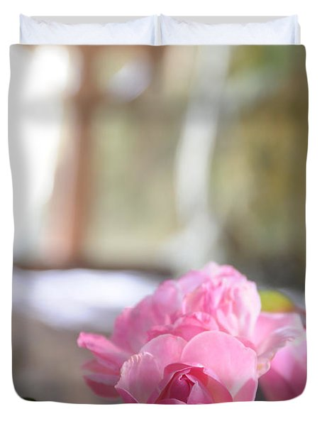 Duvet Cover featuring the photograph Church Flowers by Jeremy Voisey