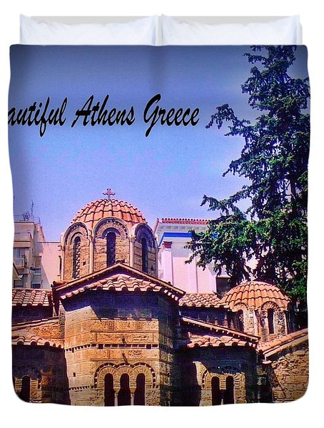 Church In Beautiful Athens Duvet Cover by John Malone