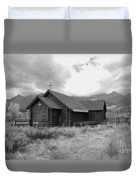 Church In Black And White Duvet Cover by Kathleen Struckle