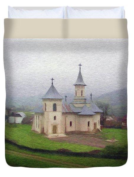 Church In The Mist Duvet Cover by Jeff Kolker