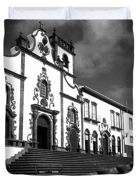 Church In Vila Franca Do Campo Duvet Cover by Gaspar Avila