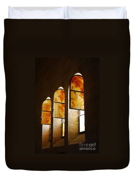 Church Of Heptapegon In Israel Duvet Cover by Eva Kaufman