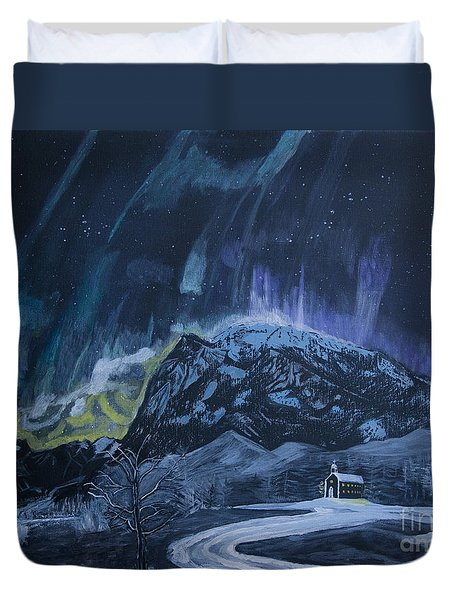Church Of The Aurora Duvet Cover