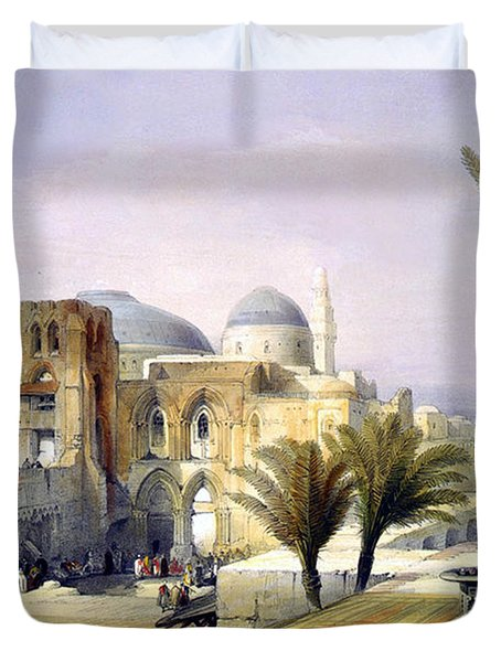 Church Of The Holy Sepulchre In Jerusalem Duvet Cover