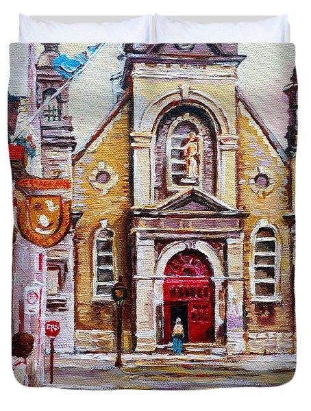 Church On Sunday Duvet Cover by Carole Spandau