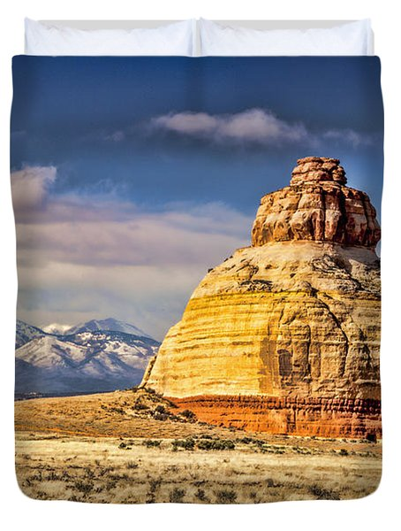 Duvet Cover featuring the photograph Church Rock by Daniel Hebard