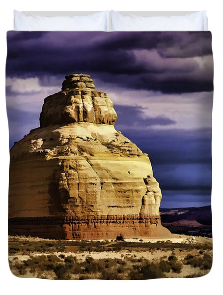 Duvet Cover featuring the painting Church Rock  by Muhie Kanawati