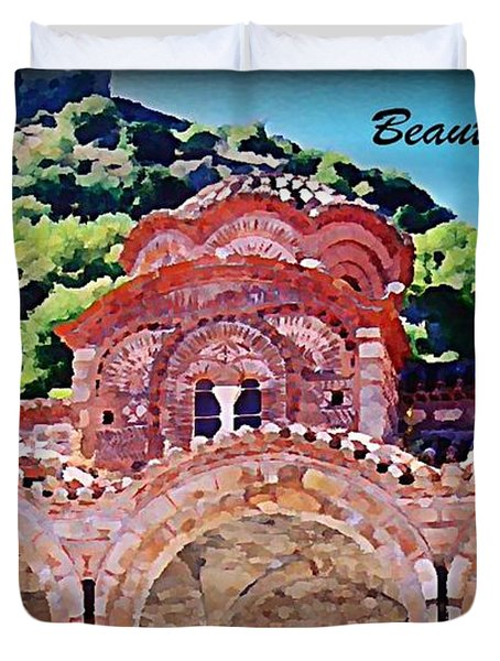 Church Ruins In Greece Duvet Cover by John Malone