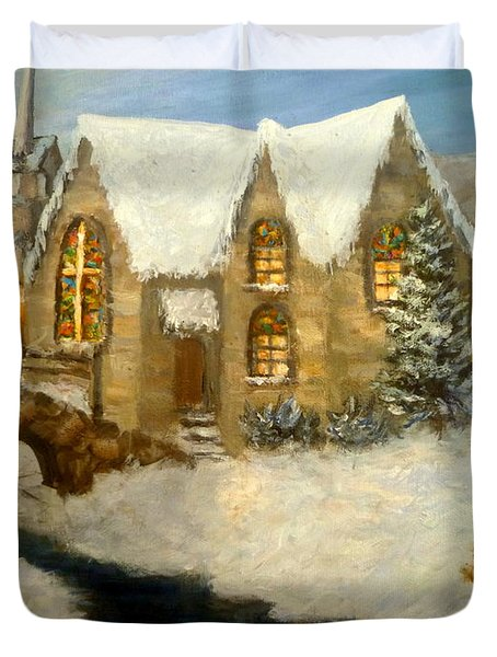 Church Snow Paintings Duvet Cover