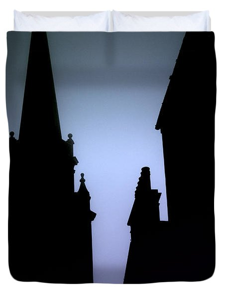 Church Spire At Dusk Duvet Cover