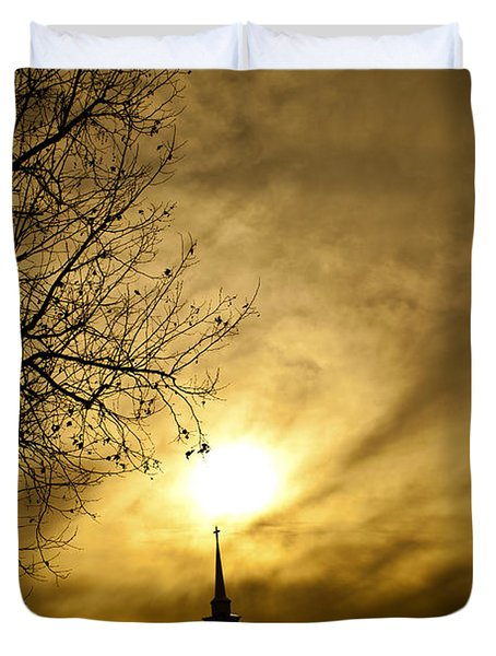 Duvet Cover featuring the photograph Church Steeple Clouds Parting by Jerry Cowart