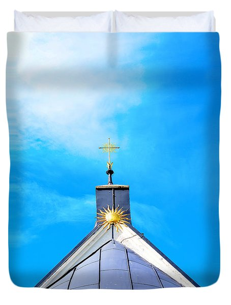 Church Top With Sun And Cross Duvet Cover by Tommytechno Sweden